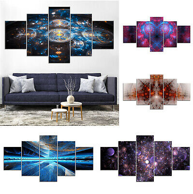 Abstract Space Canvas Print Painting Framed Home Decor Wall Art Poster 5Pcs