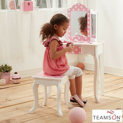 Kids Fashion Prints Vanity Table With Mirror and Stool, Teamson, New