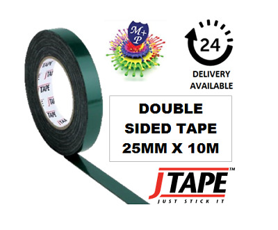 JTape 25mm x 10m DOUBLE SIDED Mounting Adhesive Tape Trims/Badges/Body Mouldings