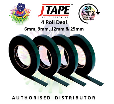 JTape 4Roll Deal DoubleSided AdhesiveTape Trims/Badges/BodyMouldings 6,9,12,25mm