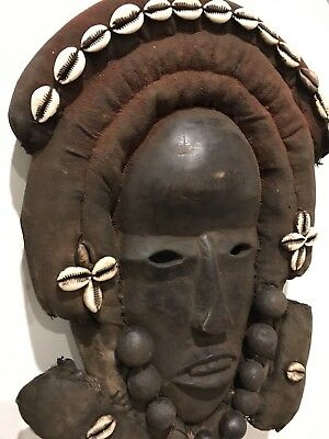West African Tribal Dan Wood Cloth Mask Liberia Old Rare Africa Tribe