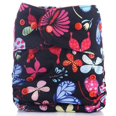 Reusable Baby Diapers Waterproof Microfleece One Size Nappy Snaps Fit 3-15 Kg