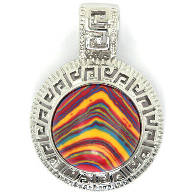 25mm orange rainbow synthetic calsilica silver plated coin pendant bead