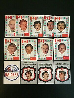 1972/73 OPC Hockey Insert Lot x 13 (Push Out, Canadian All-Star, Team Crest)