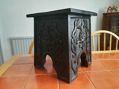 British Arts and Crafts Stool. With hand Carved Viking/Scandinavian designs.