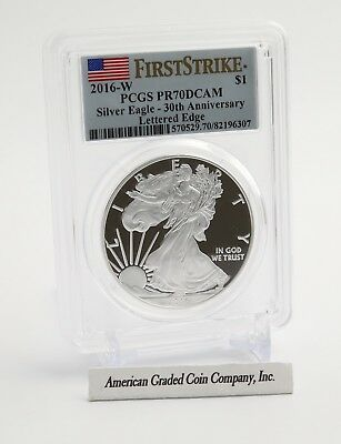 2016-W American Silver Eagle Proof - PCGS PR70 DCAM - First Strike-Rim Lettering