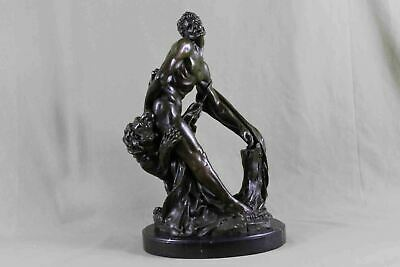 "Bronze Statue of Greek Olympian MILO OF CROTON 17"" x 12"""