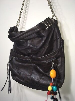 8816f5604d JUNIOR DRAKE BLACK Leather Hobo Handbag Purse Bag -  28.00