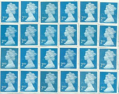 """24 2nd Class blue """"A"""" grade Unfranked GB Stamps (Peelable)"""