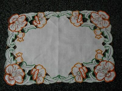 Beautiful Vintage Linen Hand Openwork/ Embroidered Tray Cloth