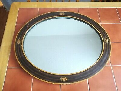 Oval Edwardian Wall Mounted Mirror with Inlaid design.
