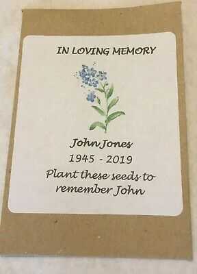 Personalised Funeral Favours - Remembrance - Forget-me-not - with/without seeds
