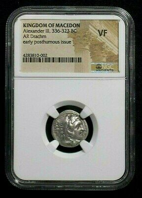 Silver Drachm of Alexander III the Great, 336-323 BC NGC VF  0002