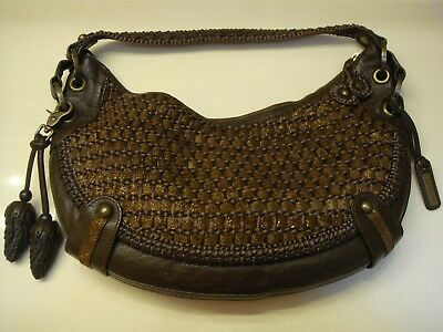 24c42941596 Vintage ISABELLA FIORE Brown Woven Leather   Fabric Hobo Bag w  Acorn Key  Clip