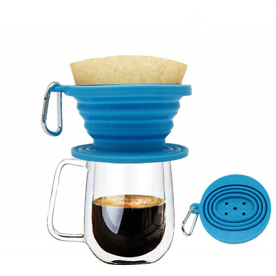 Wolecok Silicone Collapsible Coffee Filter, Camping Coffee Dripper Cone, Pour