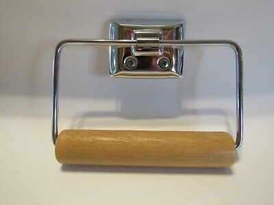 VTG Style Chrome Toilet Paper Tissue Holder WOOD ROLLER Wire Stirrup Wall Mount