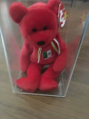 TY Beanie Baby - 1999 Osito Mexican Bear 9in - NEW WITH TAGS RARE ERRORS RED