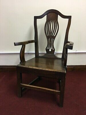 Antique Georgian Elbow / Calver Oak Chair