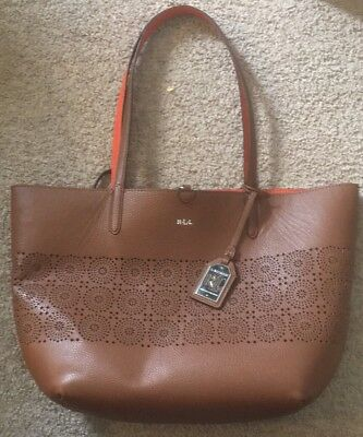 e464d33f98 Ralph Lauren Littlebury Reversible Brown   Orange Tote HandBag W  Matching  Pouch