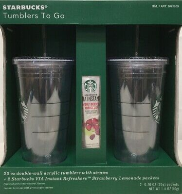 Starbucks Tumblers To Go 20 oz. Acrylic Cold Cup 2 Clear Gift Set NEW w/ packets