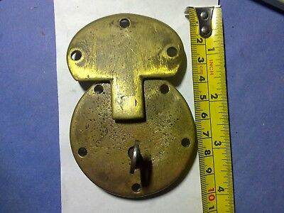 trunk or chest lock and key, brass, antique