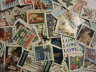 "Old Timers Christmas And Love Stamp Hoard ""all Different Used Usa"" Free Shipping"