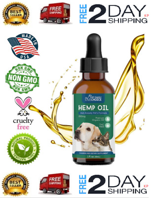 Hemp Oil for Dogs Cats Pets 100% Organic Hip Joint Anxiety and Pain Relief 250mg