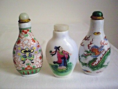 3 X  Snuff  Bottles  Chinese Porcelain  Hand Painted Dragon,bat,female Figure.