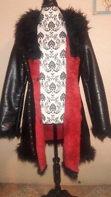 421babb319 Hot Topic Tripp NYC Black Faux Leather Fur Coat Jacket Punk Goth Steampunk  Vamp