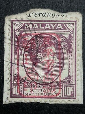 Straits Settlements 1942, 10cent Grey, Used, ISC Cat J19, Red Overprint