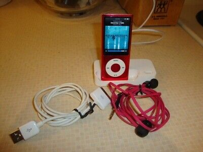 Apple16GB iPod nano (Pink) Bundle with pink earbuds charging stand MC075LL 4th