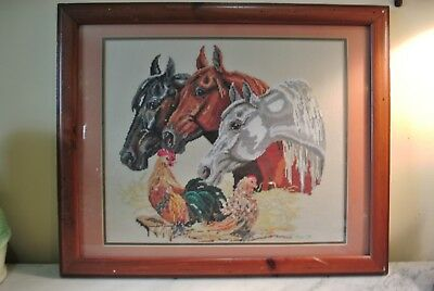 Vtg  Completed Hand Embroidery Horses Farm Equine Framed Needle Point Art  22x18