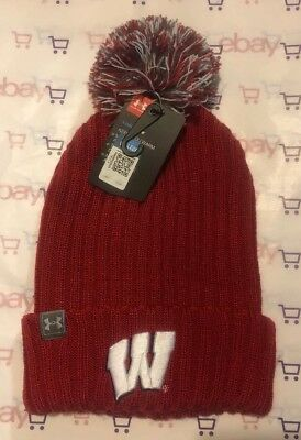 dba56a2a679 Under Armour UA Wisconsin Badgers Red white Stocking Pom Hat-NWT FREE SHIP