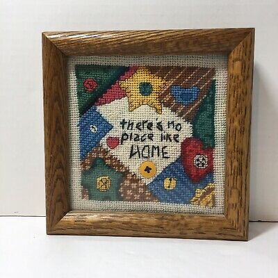 "There's No Place Like Home Needlepoint Finished and Framed 7"" Sq Patchwork"