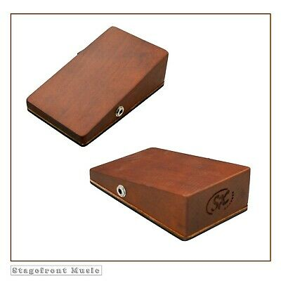 Stomp Box Mahogany Wooden Stompbox Wedge Shaped With Slanted Top **New**