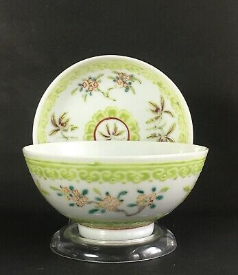 Antique Chinese Famille Rose Lime Green Porcelain Bowl and Dish Red Peach Mark