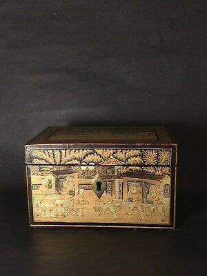 Vintage Antique Chinese Highly Detailed Gilt Lacquer Box with Key