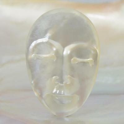 Lustrous Mother-of-Pearl Shell Face Cameo-style Carving Cabochon 3.66 g