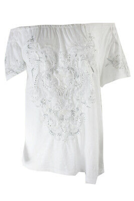 79d59e28e0e Inc International Concepts White Embroidered Beaded Off-The-Shoulder Top M