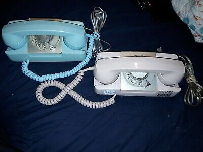 2 Vintage Starlite GTE AE Blue Turquoise & Pink Princess Rotary Dial Telephone