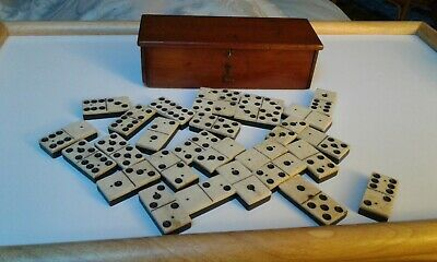 Complete set of 28 double 6 Dominoes in box. Early 1900s?
