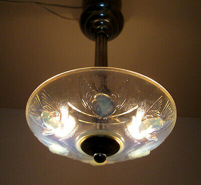 Adorable French Art Deco Chandelier 1925/1930 -Opalescent Glass- By Ezan France