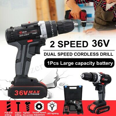 3In1 36V 3/8'' Cordless Impact Drill Hammer LED 2-Speed 25 Torque Li-ion Battery
