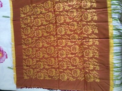 "Vintage, Gorgeous  Chinese Yellow/Pink  Silk Tablecloth With The Fringes 39""x39"""