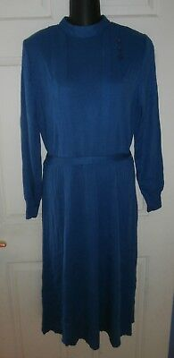 Lovely Vintage 1940's style Teal Blue Knit Dress 14-16