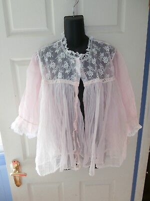 Beautiful Pink Lace & Pleated Nylon Vintage Bed Jacket Vicling sz 16