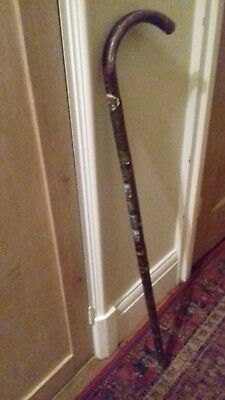 Walking stick with 9 metal badges, conquests