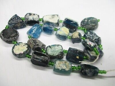 Stunning indicolite blue old fragment glass beads with  great Pattern G95