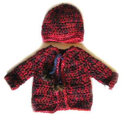 NEW KSS Handmade Red/Brown/Purple Baby Sweater with a Hat 6 Months SW-618 SALE