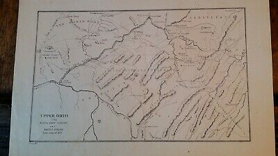 1782 Upper Ohio Battle Fields Forts Antique Map Plan American Revolutionary Wars